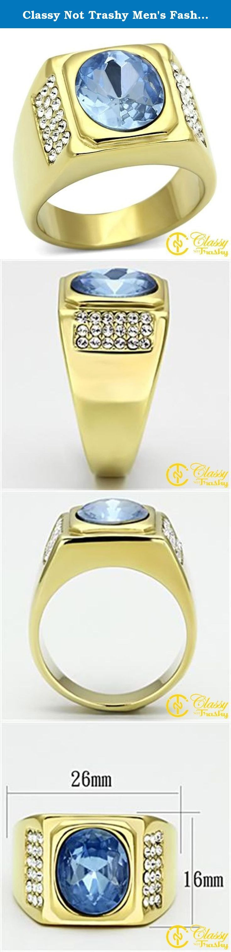 Classy Not Trashy Men's Fashion Jewelry Ring, Premium Grade Stainless Steel Light Blue Synthetic Stone Oval Block Ring Size 13. This gorgeous Classy Not Trashy® Men's Fashion Jewelry Ring, Premium Grade High Quality Stainless Steel Light Blue Synthetic Stone Oval Block Ring Size 13 has the finest details and highest quality you will find anywhere! Our team prides ourselves on finding the best prices without reducing quality, and in this Men's Ring Collection, we have definitely done just...