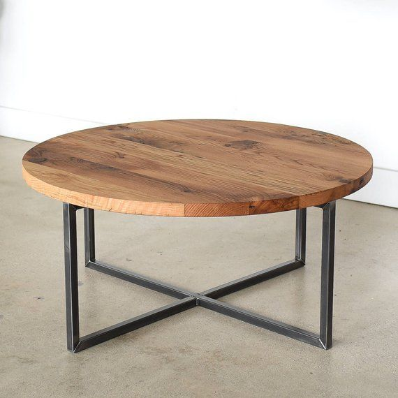 Round Coffee Table / Reclaimed Wood + Metal Base C…