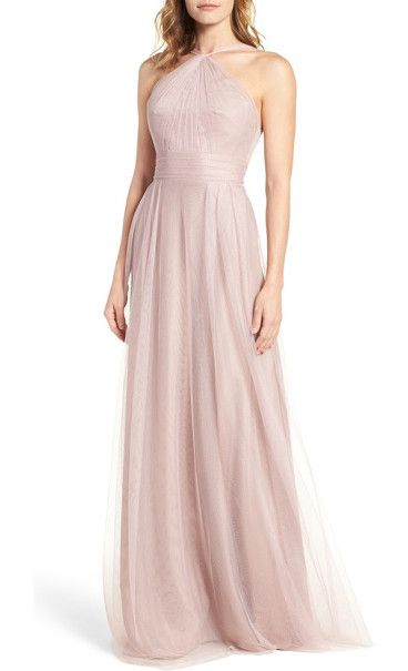 tulle halter style gown by Monique Lhuillier Bridesmaids. Gathered to a twisted halter-inspired neck, this charming dress puts the focus on pretty shoulders and back while an ...