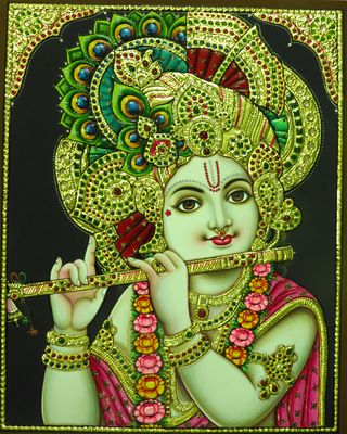 Flute Krishna Tanjore Painting - Buy Online in India for prices starting at Rs. 16000 on Shimply.com