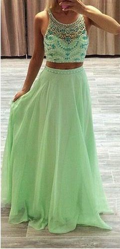 two Pieces Prom Dress ,long prom dress
