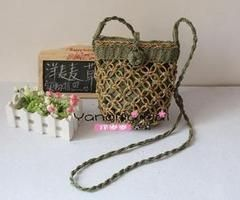 21x17CM Handmade Staircase Process Vintage Wind Paper Rope Straw Bag Bag Handbag Chicken Cage A2954