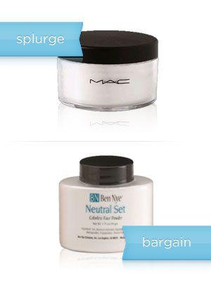 Cheap Swaps for High-End Makeup The splurge: MAC Set Powder, $27 The bargain: Ben Nye Translucent Powder, $5