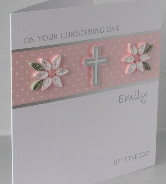 Handmade Christening card personalized by PaperDaisyCardDesign