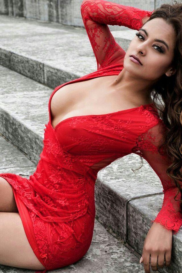 Beautiful Sexy Woman Black Mini Dress Stock Photo