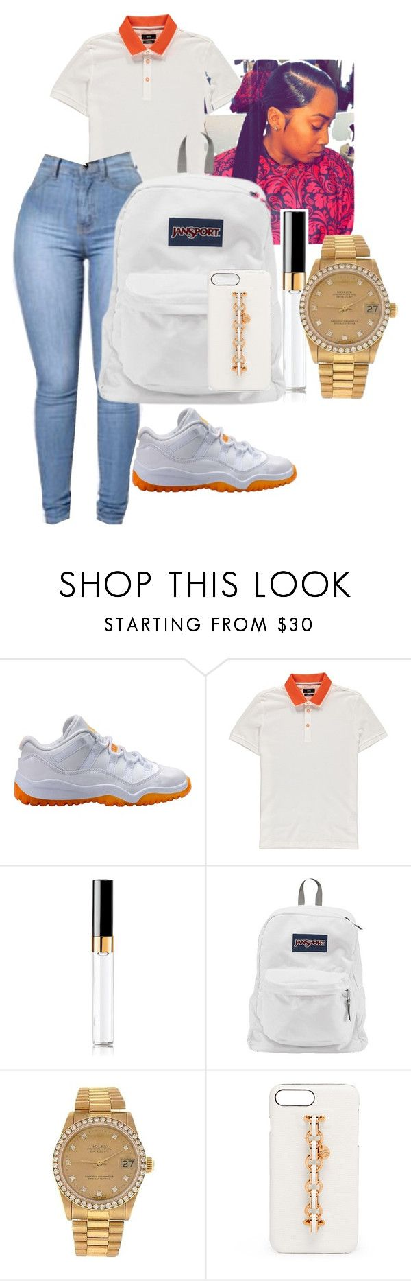 """Jordan Outfit"" by benginafantaisie on Polyvore featuring NIKE, BOSS Orange, Chanel, JanSport, Rolex, Henri Bendel, nike, jansport, jordan and JORDAN11"