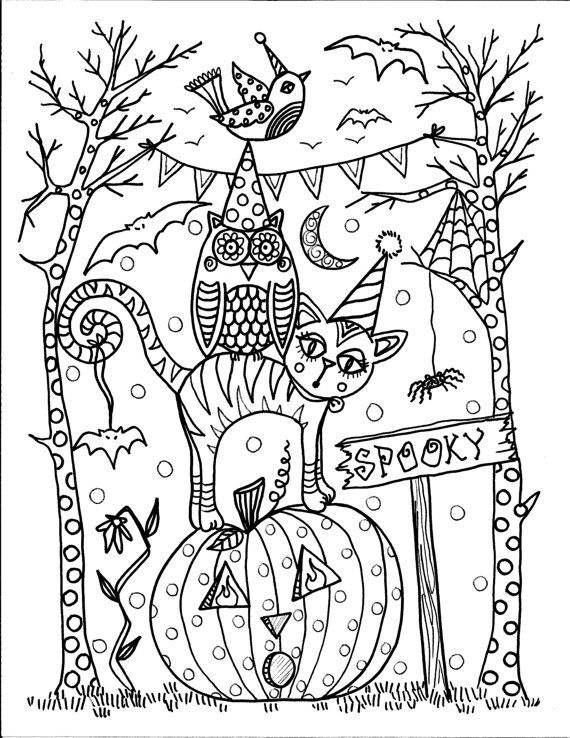 Halloween by the Chubby Mermaid Zentangle Coloring pages colouring adult detailed advanced printable Kleuren voor volwassenen coloriage pour adulte anti-stress kleurplaat voor volwassenen Line Art Black and White