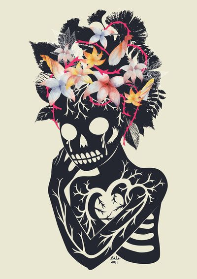 Lala Gallardo, romantic day of the dead skull with flowers and heart, frida kahlo style