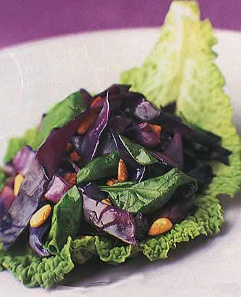 Red Cabbage and Warm Spinach Salad Recipe    Epicurious.com