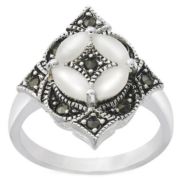 Giani Silver Plated Antique Style Marcasite Ring ($12) ❤ liked on Polyvore