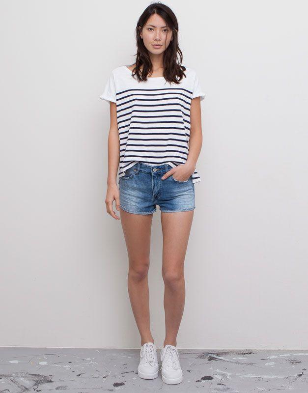 Pull&Bear - damen - bermudas und shorts - jeansshorts - hellblau - 05693311-I2015