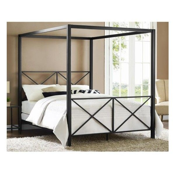 DHP Rosedale Canopy Bed ($199) ❤ liked on Polyvore featuring home, furniture, beds, black canopy bed, ebony furniture, black metal canopy bed, black canopy bed frame and black furniture