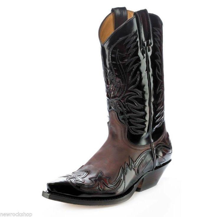 Sendra 3241 Man Cowboy Boots Brown Fuchsia Red Leather Western Biker Handmade   eBay