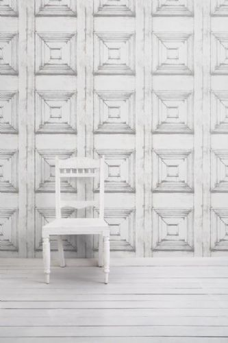 Almost White Panelling Wallpaper By Young  Battaglia - Vintage 2.5m Panel