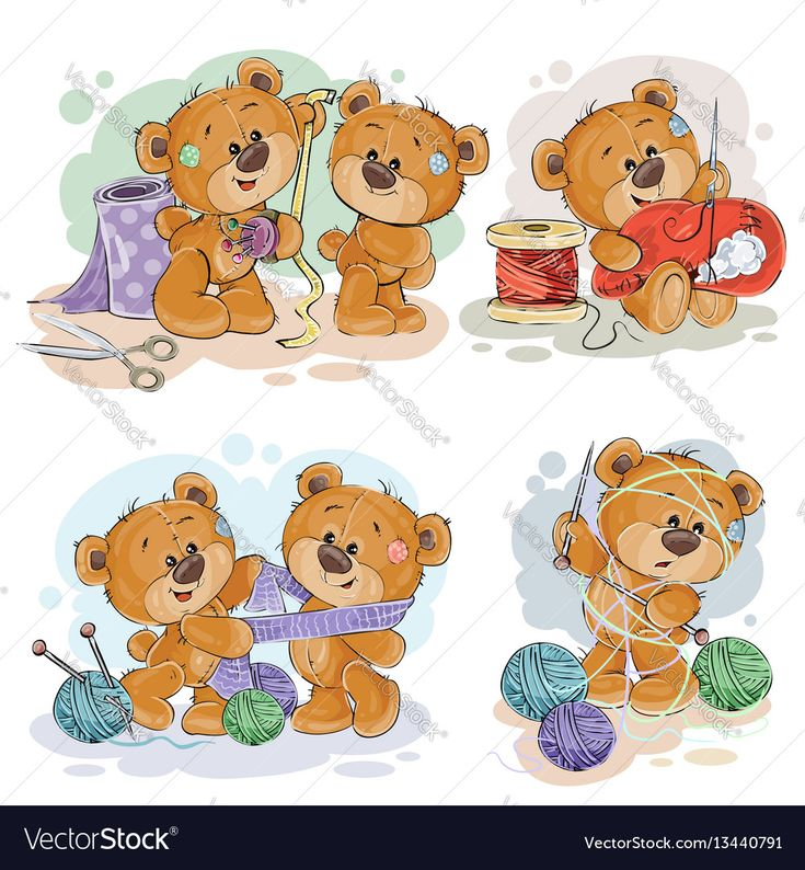 Set of vector clip art illustrations of teddy bears and their hand maid hobby - sewing, knitting. Download a Free Preview or High Quality Adobe Illustrator Ai, EPS, PDF and High Resolution JPEG versions.
