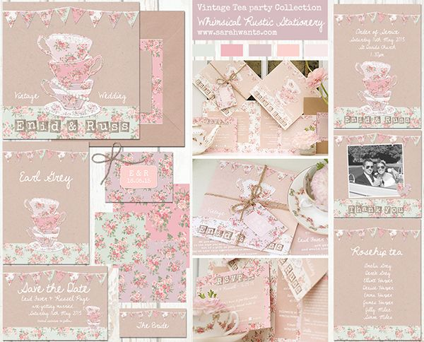 Vintage tea party stationery// Sarah Wants// The Natural Wedding Company
