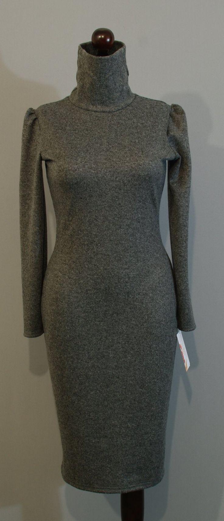 Зимнее серое платье с высоким воротом купить на сайте Платье-терапия (108)