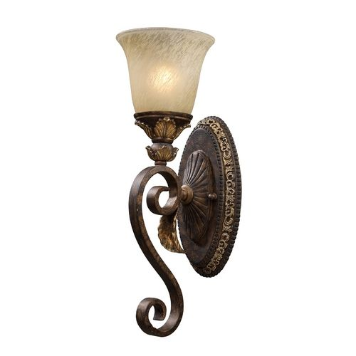 Sconce Wall Light with Beige / Cream Glass in Burnt Bronze Finish | 2150/1 | Destination Lighting