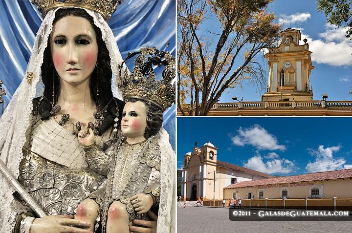 Triptico de Chiantla con su virgen de plata, el exterior de la Iglesia y el torreon del palacio municipal, Chiantla, Huehuetenango