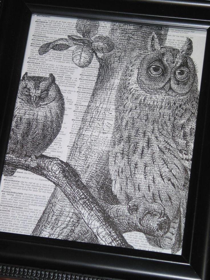 BOGO SALE Dictionary Art Print Owl Art by HamiltonHousePrints