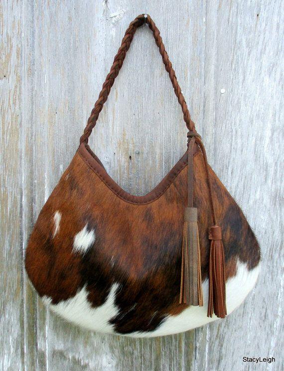 Pelo en piel de vaca cuero Hobo bolso con borlas por stacyleigh