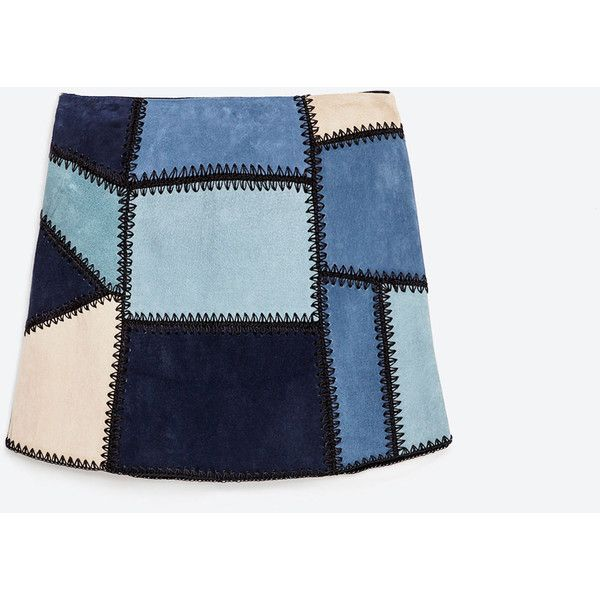 Zara Leather Patchwork Mini Skirt (1,255 MXN) ❤ liked on Polyvore featuring skirts, mini skirts, blue, faldas, zara skirt, leather skirt, leather miniskirt, short mini skirts and blue skirt