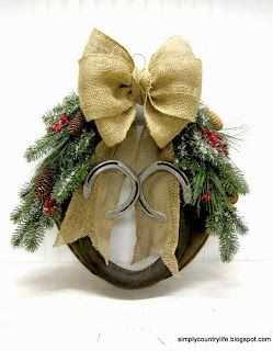 Simply Country Life: Old Leather Horse Harness Christmas Wreath