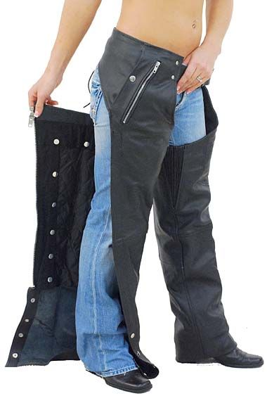 Unisex Premium Leather Chaps with Snap Out Lining