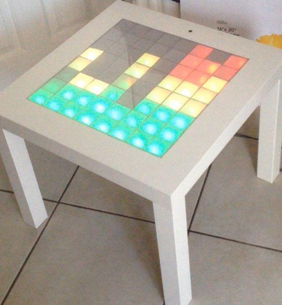 DIY Music Visualiser Table. EXTREME light craft. Pretty LEDs - looks like Tetris!