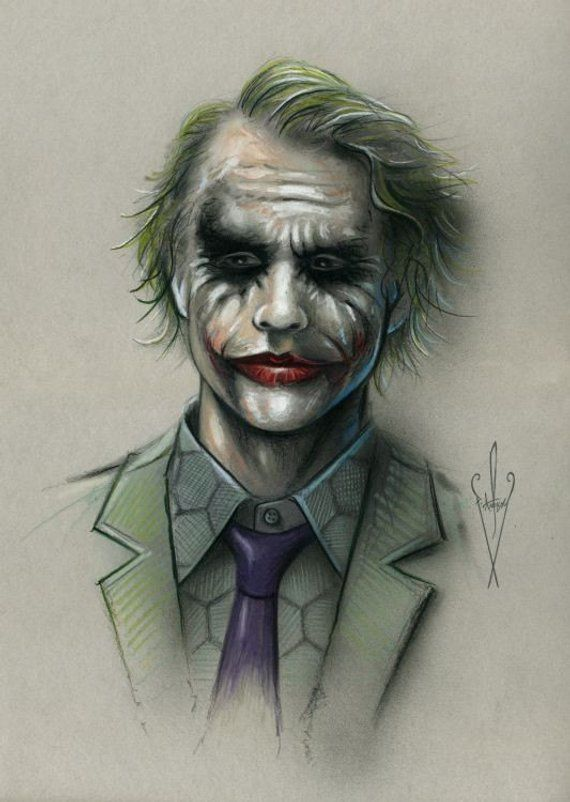 The Joker Pencil Airbrush Drawing 12 X 18 Inch Artwork With