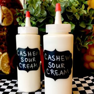 Store non-dairy sour cream in squeeze bottles then drizzle on everything.