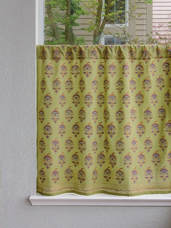 Memories Of Shalimar Asian Floral Green Kitchen Curtain