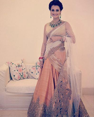 Dia Mirza in Shantanu & Nikhil lengha at her wedding
