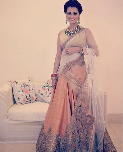 Dia Mirza in Shantanu & Nikhil lengha at her wedding