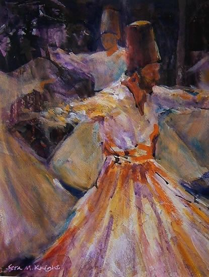 """Whirling Dervishes - Gallery of Dance Paintings by Woking Surrey Artist Sera Knight - The Whirling Dervishes"""", believe in performing their dhikr in the form of a """"dance"""" and music ceremony called the sema."""