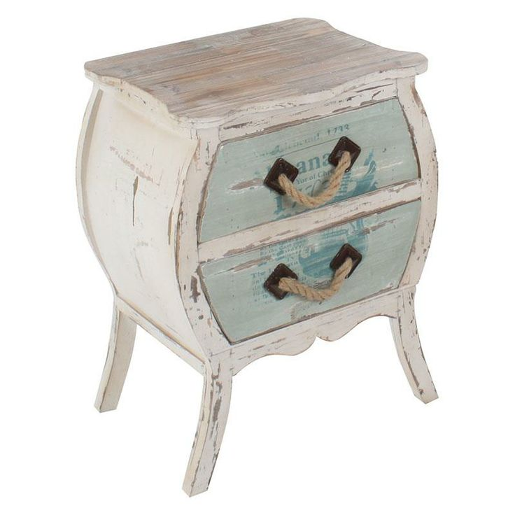 Wooden commode in antique light blue color with rope www.inart.com