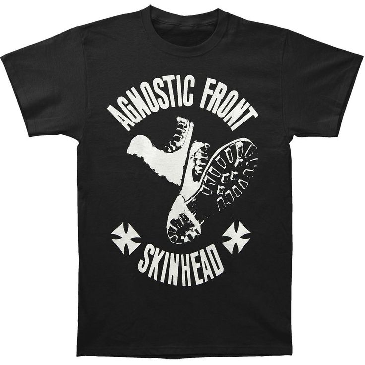 Agnostic Front - Skinhead Boot Band Shirt Black Shirt with White Ink - 100%  Cotton