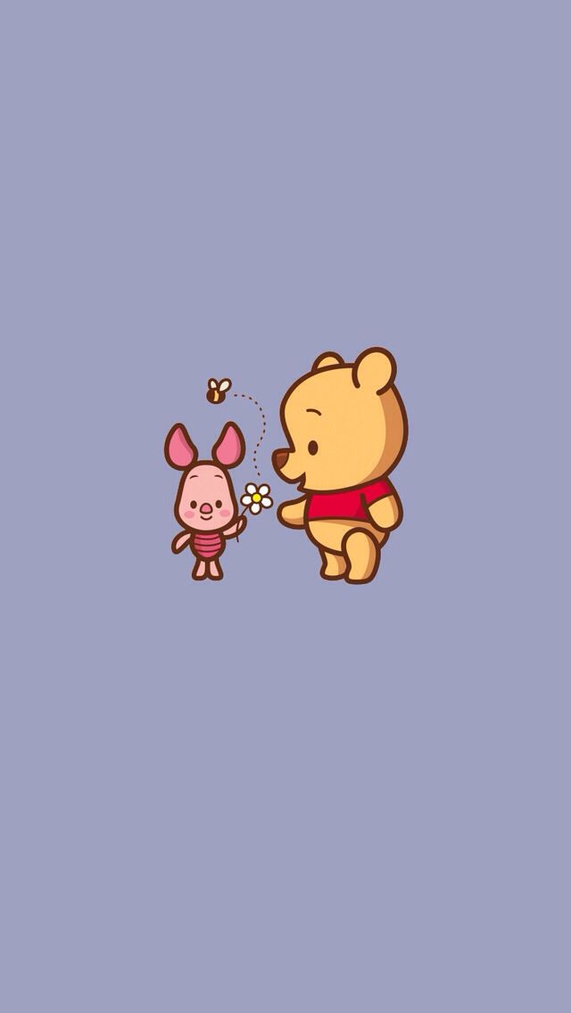 Baby piglet & baby pooh iPhone wallpaper