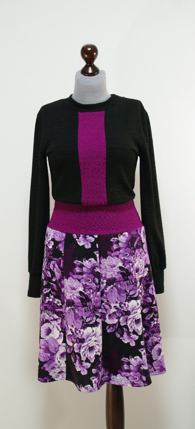Черно-фиолетовое платье, юбка-восьмиклинка | Платье-терапия от Юлии