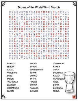 Music Word Search Drums Of The World Word Search Music Instruments