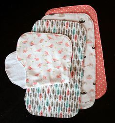 burp cloths...made several of these in just an hour!  Super easy!  I put a layer of cotton batting in the middle, too.