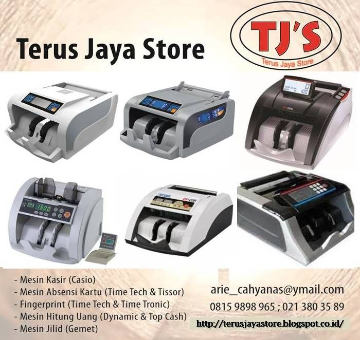 Money Counter Machine (Mesin Hitung Uang)  Merk/Type :  - Top Cash 9600.  - Dynamic 995.  - Dynamic 993 EV.  - Secure LD 22 A.  - Secure LD 26 M.   Best Regards,  Terus Jaya Store  Arie Cahyana  Hp : 0815 9898 965  Email : arie_cahyanas@ymail.com  #cashregister #mesinkasir #restaurant #casio #cashdrawer #kasir #register #rumahmakan #electronic #barcode #cashier #cashdrawer #POSsystem #printerkasir #usaha #bisnis #business #gemet #binding #machine #jilid #offistar #mesin jilid