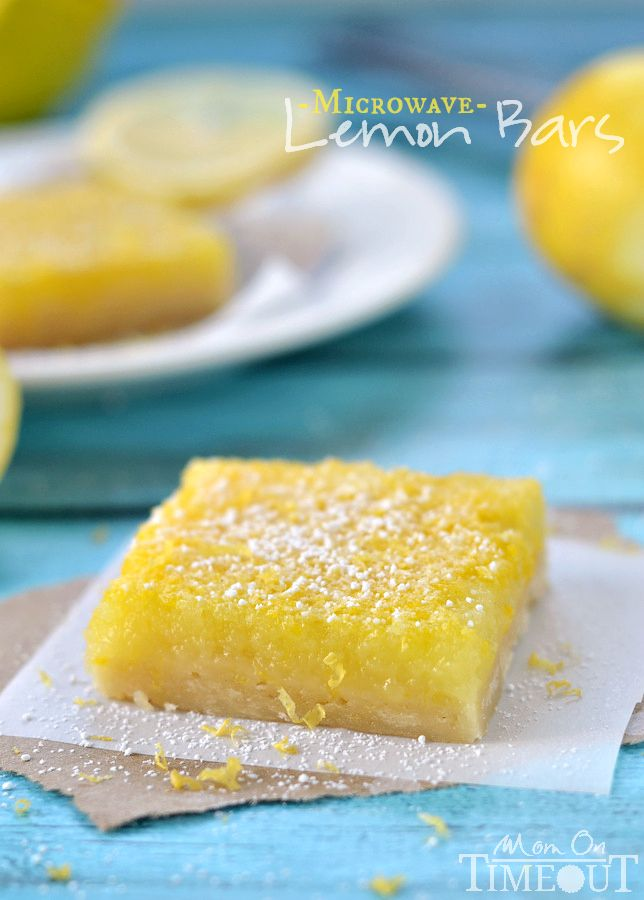 These amazing Microwave Lemons Bars are perfectly sweet with loads of tart lemon flavor! | MomOnTimeout.com