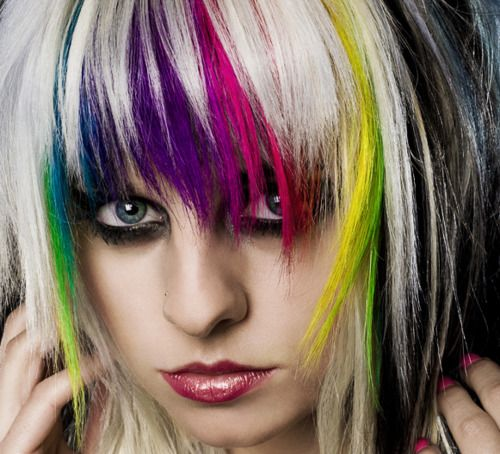 hair color idea: Hair Colors Ideas, Rainbows Hair, Platinum Blondes, Rainbows Colors, Haircolor, Hair Style, Hair Chalk, Funky Hairstyles, Colors Hair