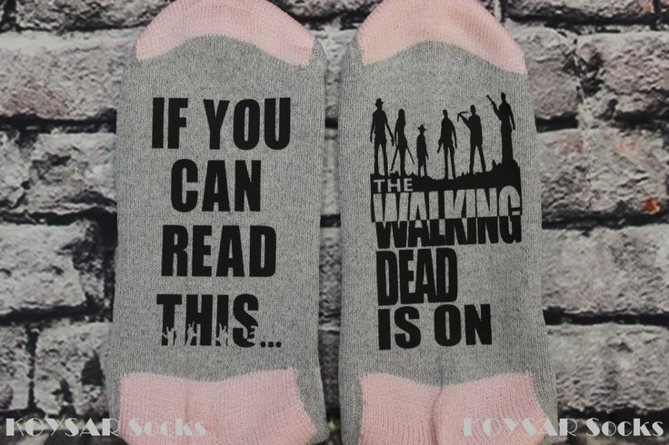 #TWD #TheWalkingDead The Walking Dead Socks, TWD Socks, If You Can Read This, The Walking Dead Is On, Customized Socks, TWD Season Premiere Socks by KOYSARsocks on Etsy