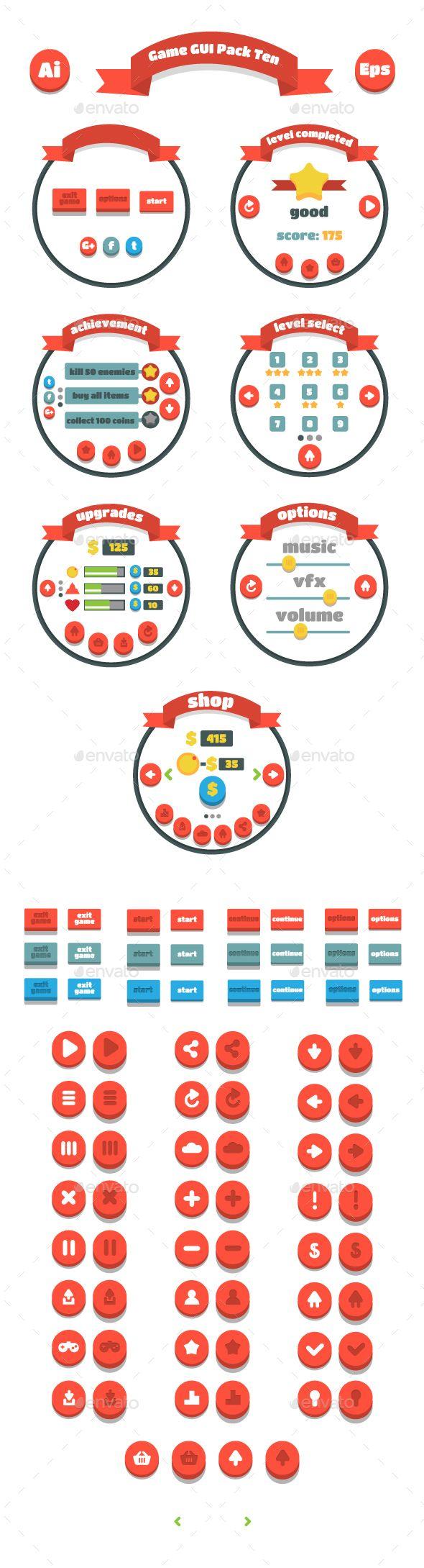 Game GUI Vector EPS, AI Illustrator Pack Ten. Download here: https://graphicriver.net/item/game-gui-pack-ten/14235377?ref=ksioks