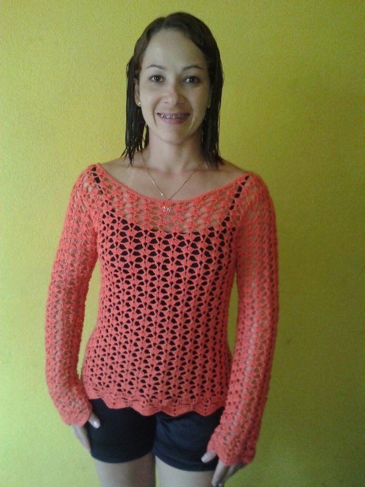Blusa manga longa de crochê super fresquinha e versátil!!! Escolha a cor e o tamanho.