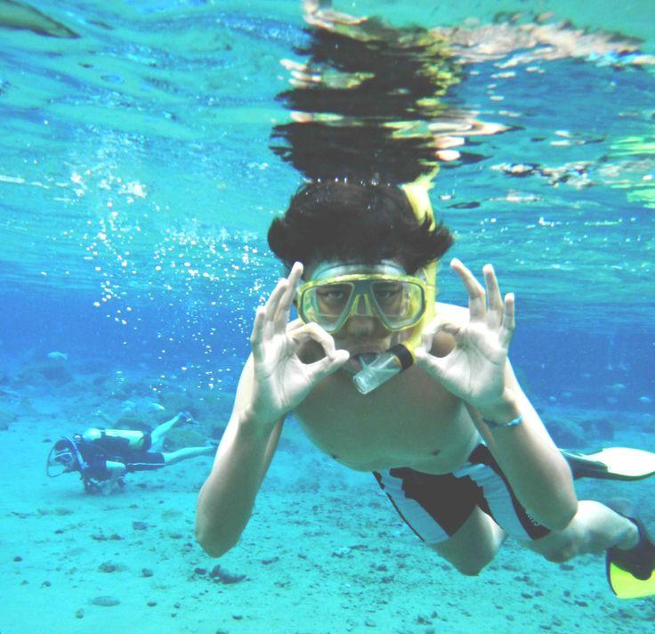 Snorkling at Ponggok, Klaten, Indonesia. Great!