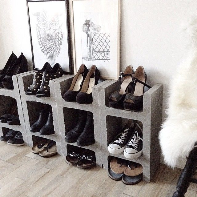 Diy 16 Idees Pour Fabriquer Un Meuble A Chaussures Mobilier De Parpaing Diy Maison Etagere A Chaussures Diy