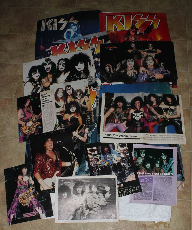Lot of Kiss Clippings Band Pictures Posters From Magazines Gene Ace Peter Paul #Kiss #Gene #Ace #Paul #Peter